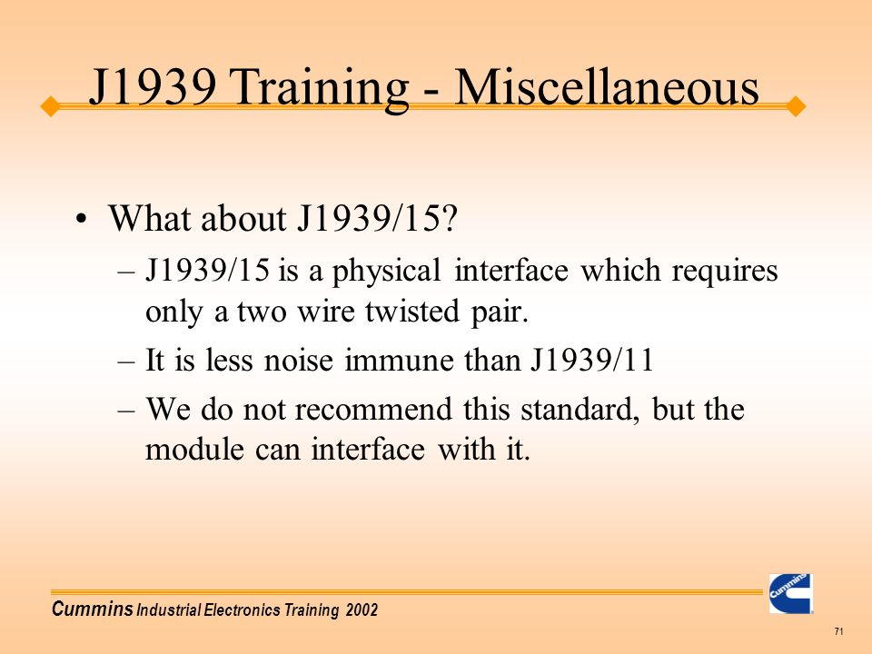 J1939 Training - Miscellaneous