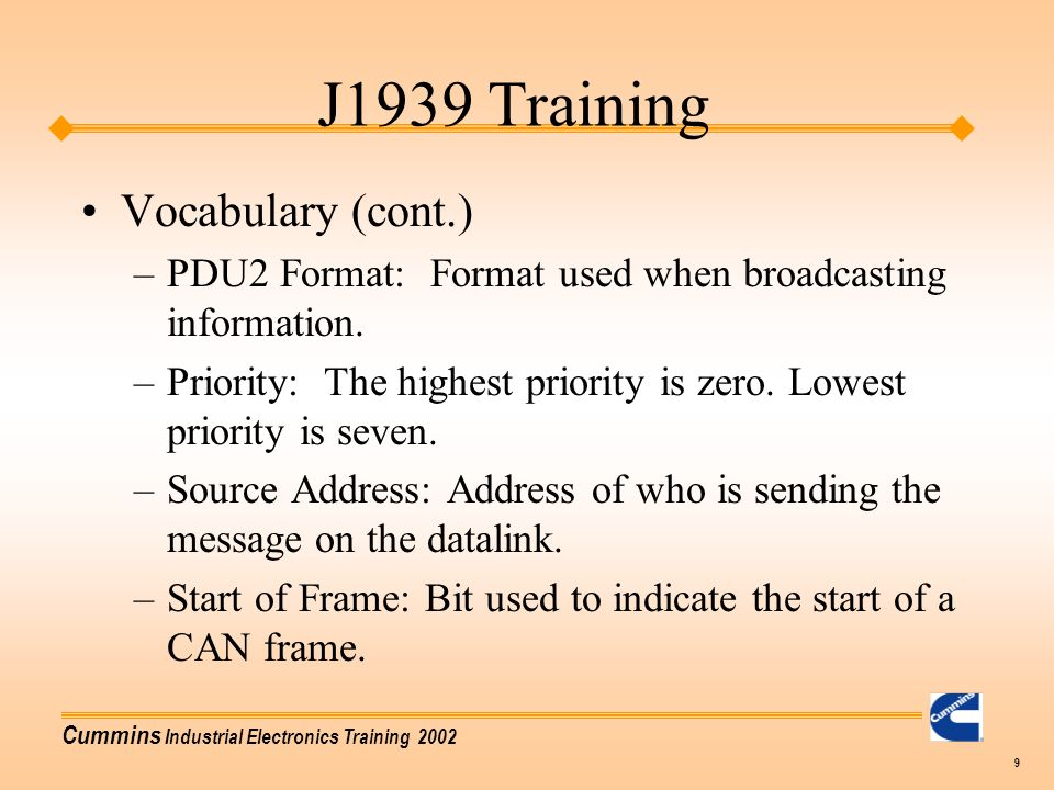 J1939 Training Vocabulary (cont.)