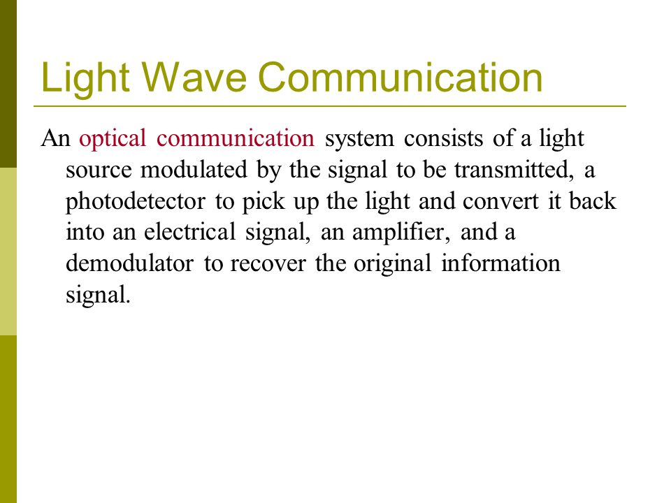 Light Wave Communication