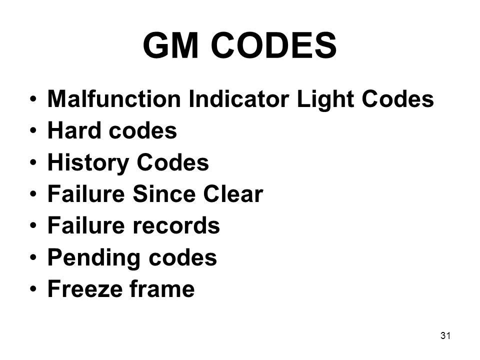 GM CODES Malfunction Indicator Light Codes Hard codes History Codes