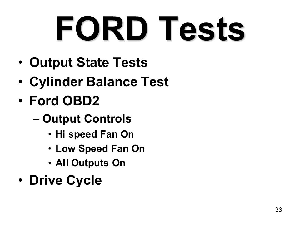 FORD Tests Output State Tests Cylinder Balance Test Ford OBD2