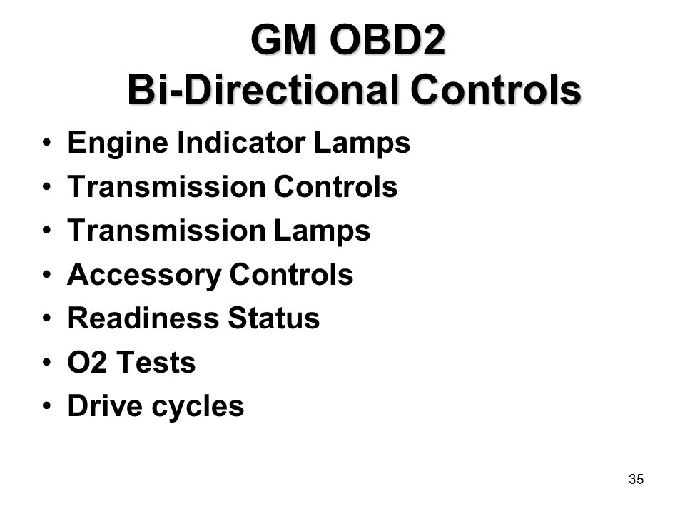 GM OBD2 Bi-Directional Controls