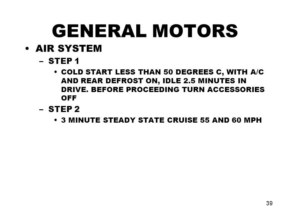 GENERAL MOTORS AIR SYSTEM STEP 1 STEP 2
