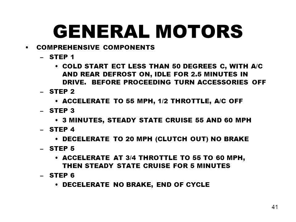 GENERAL MOTORS COMPREHENSIVE COMPONENTS STEP 1
