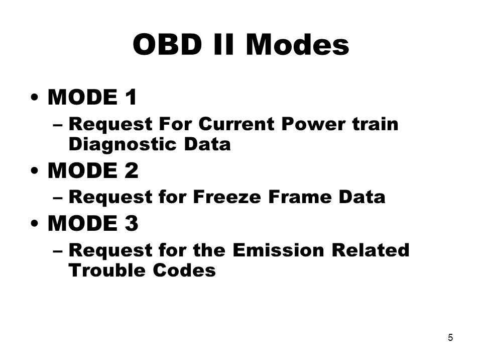 OBD II Modes MODE 1 MODE 2 MODE 3