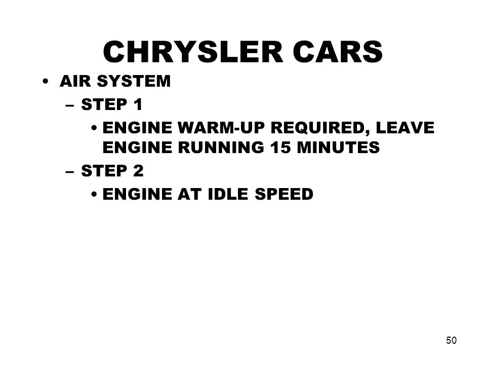 CHRYSLER CARS AIR SYSTEM STEP 1