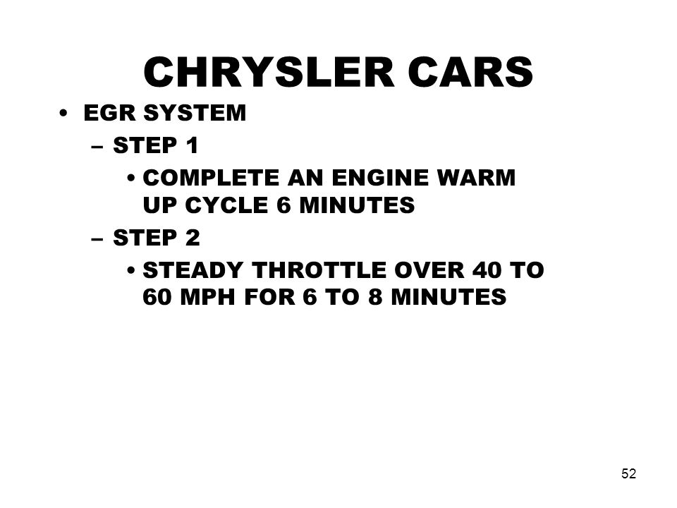 CHRYSLER CARS EGR SYSTEM STEP 1