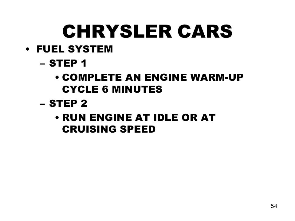 CHRYSLER CARS FUEL SYSTEM STEP 1