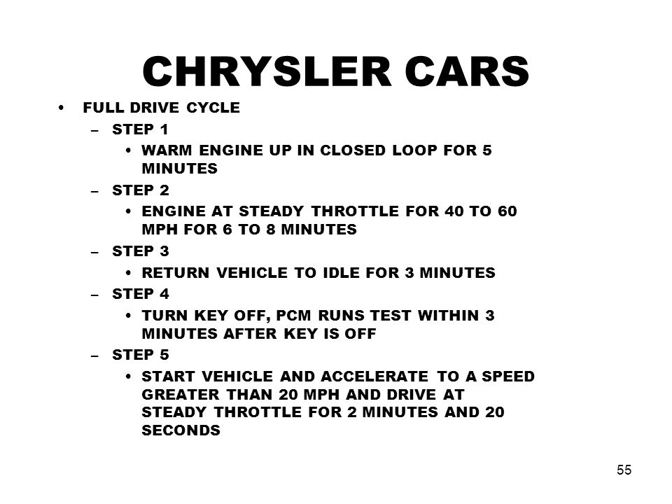 CHRYSLER CARS FULL DRIVE CYCLE STEP 1