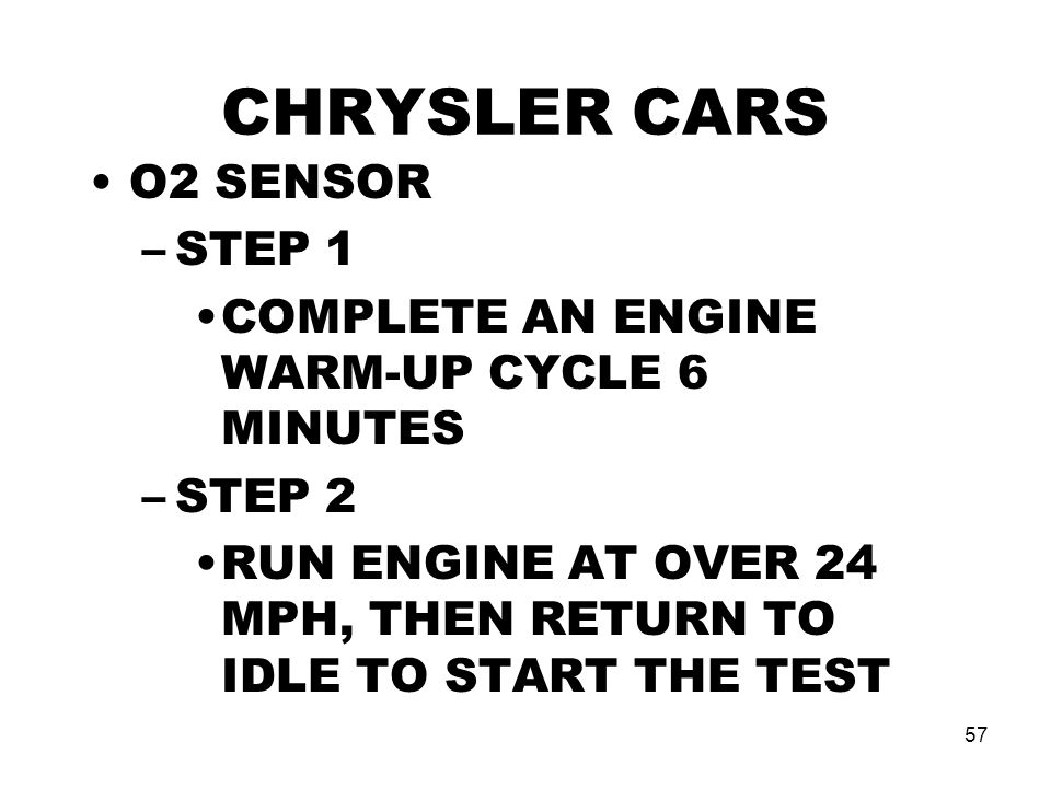 CHRYSLER CARS O2 SENSOR STEP 1