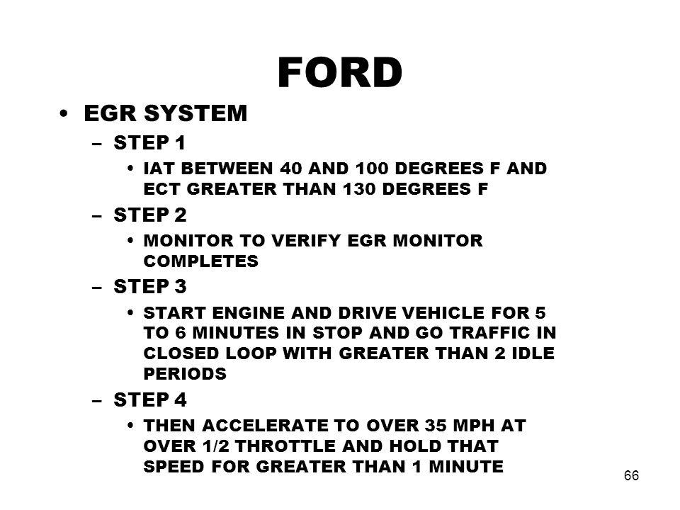 FORD EGR SYSTEM STEP 1 STEP 2 STEP 3 STEP 4
