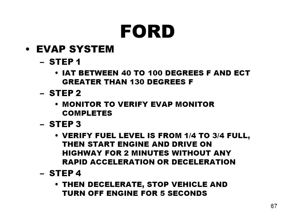 FORD EVAP SYSTEM STEP 1 STEP 2 STEP 3 STEP 4