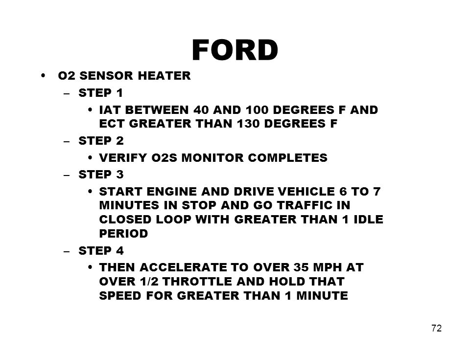 FORD O2 SENSOR HEATER STEP 1