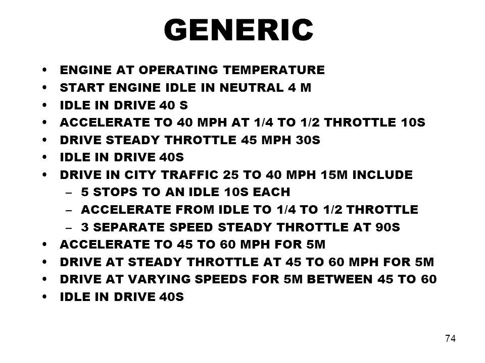 GENERIC ENGINE AT OPERATING TEMPERATURE