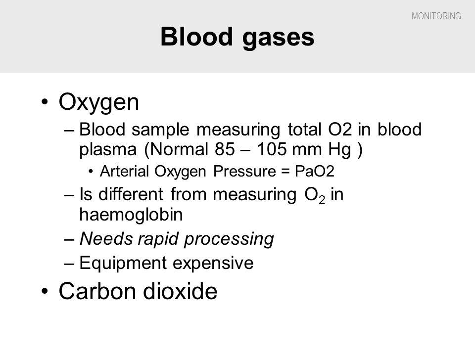 Blood gases Oxygen Carbon dioxide