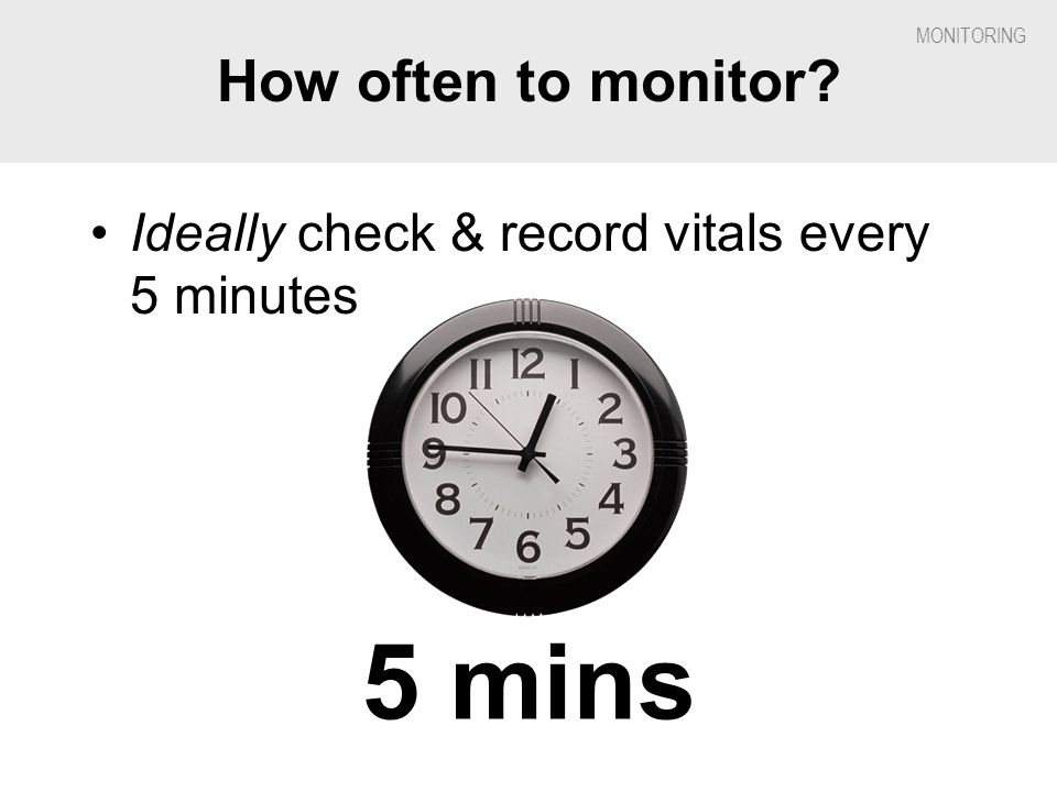 5 mins How often to monitor