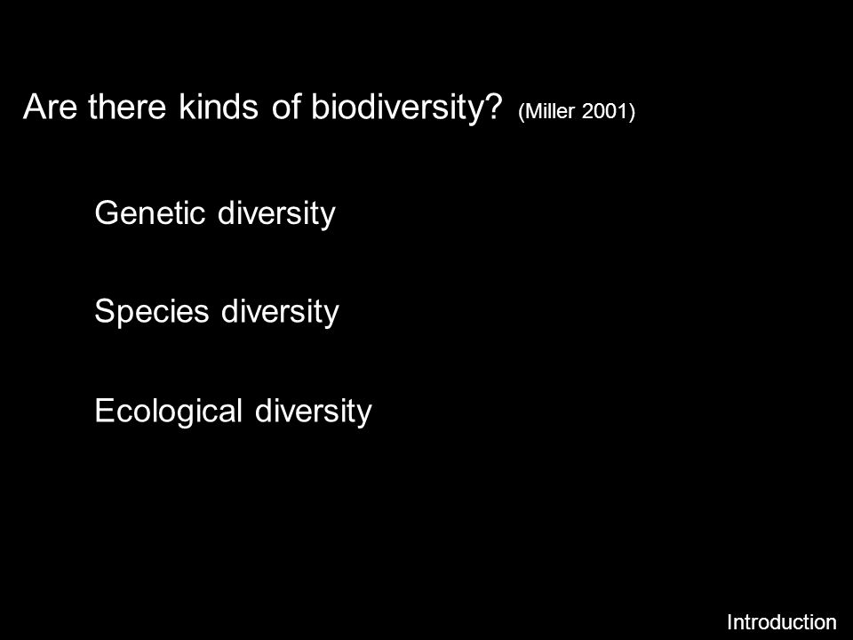 Are there kinds of biodiversity (Miller 2001)