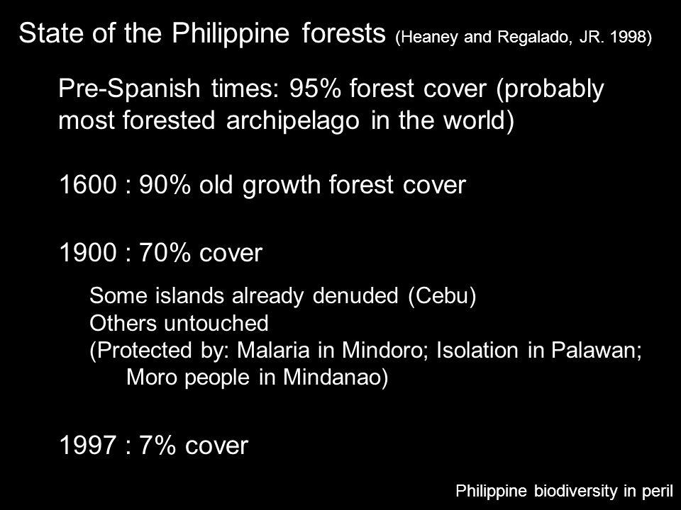 State of the Philippine forests (Heaney and Regalado, JR. 1998)