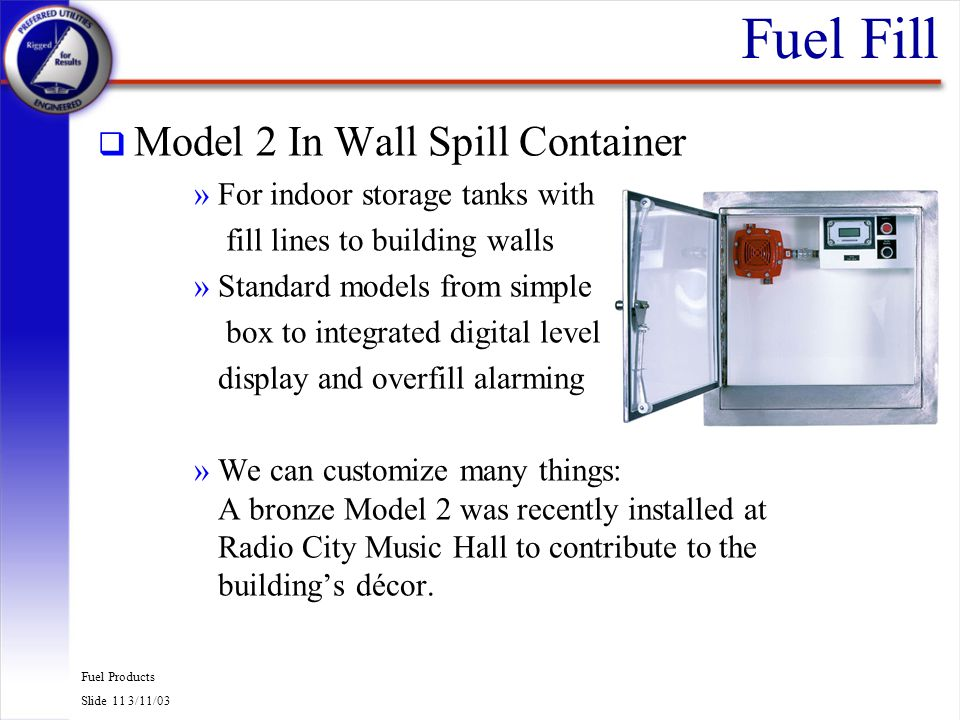 Fuel Fill Model 2 In Wall Spill Container