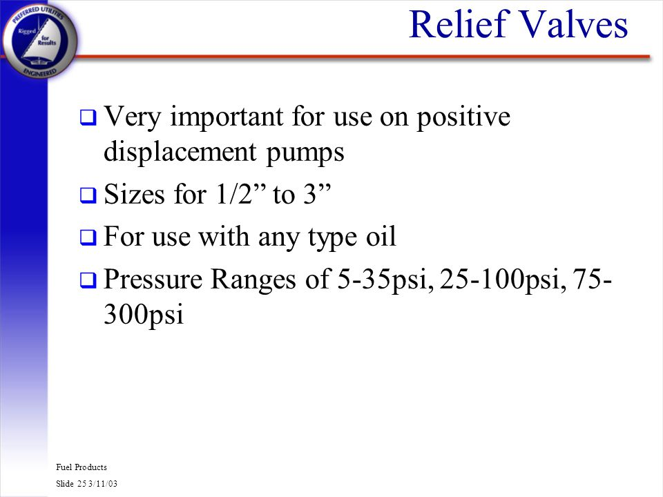 Relief Valves Very important for use on positive displacement pumps
