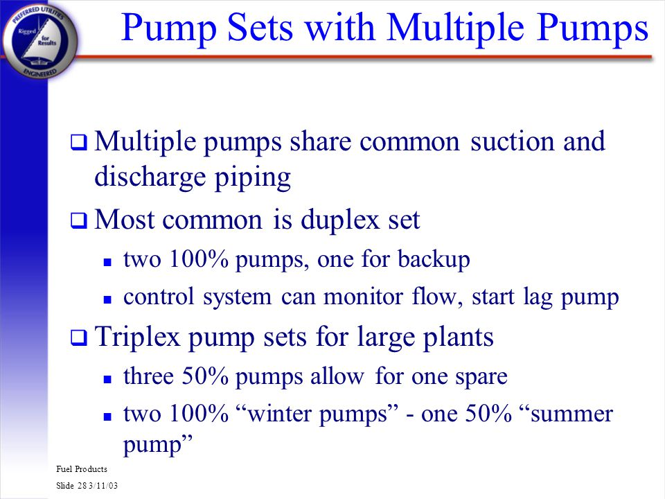 Pump Sets with Multiple Pumps
