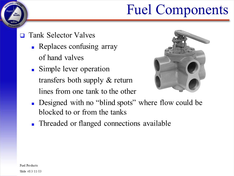 Fuel Components Tank Selector Valves Replaces confusing array