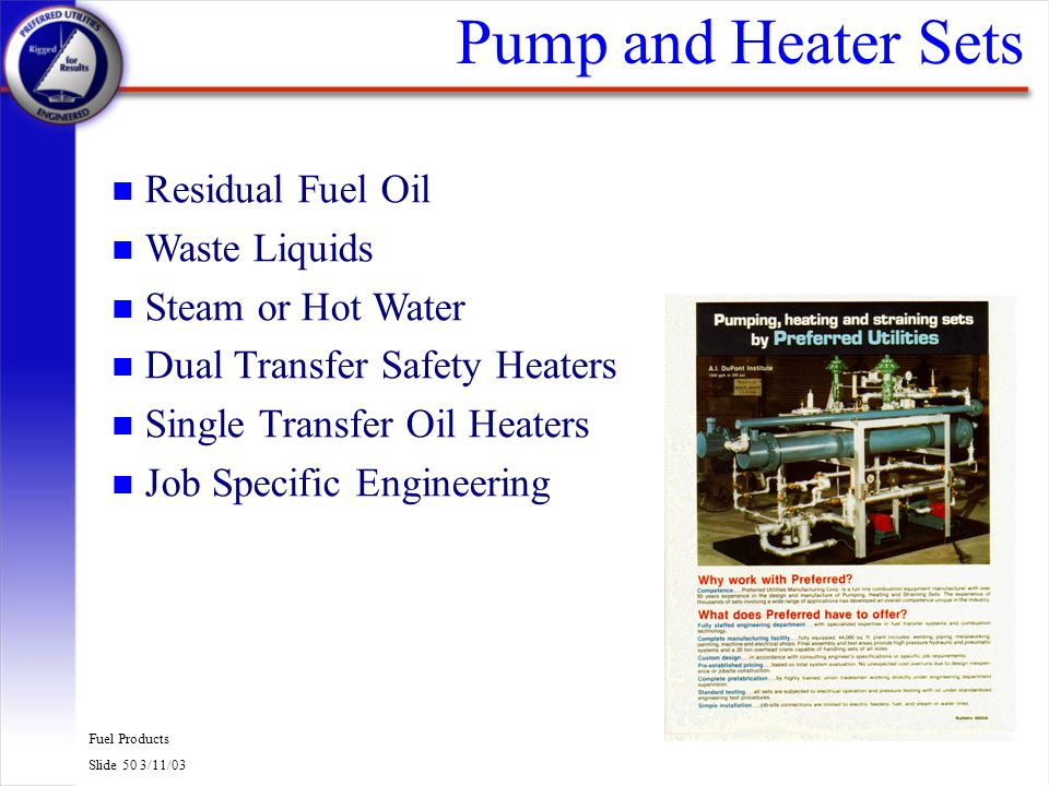Pump and Heater Sets Residual Fuel Oil Waste Liquids