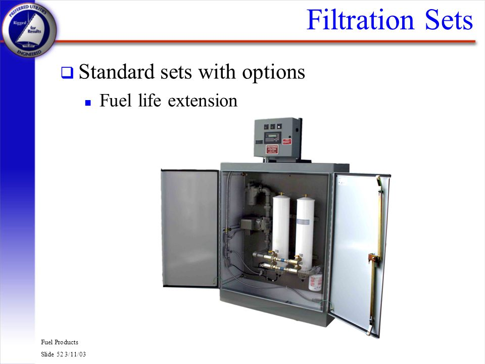 Filtration Sets Standard sets with options Fuel life extension