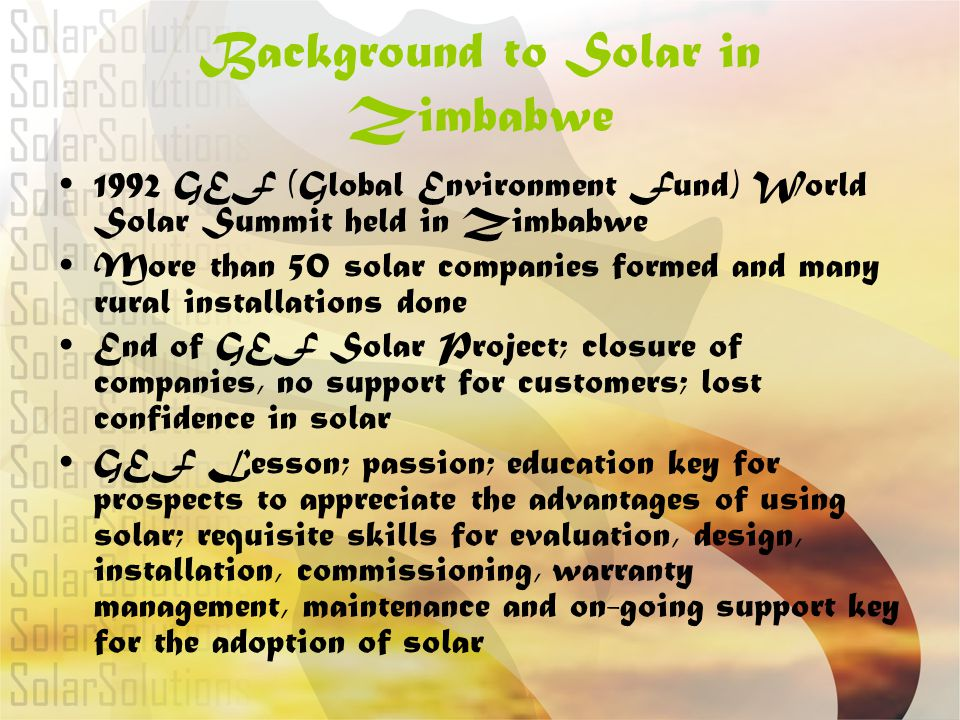 Background to Solar in Zimbabwe