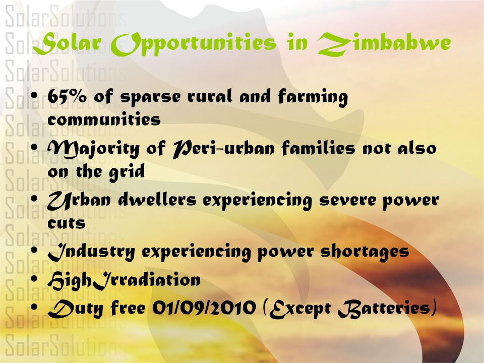 Solar Opportunities in Zimbabwe