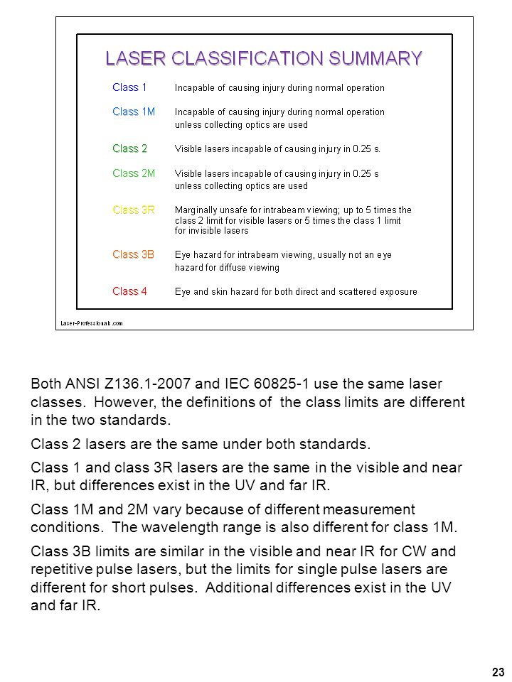 Class 2 lasers are the same under both standards.