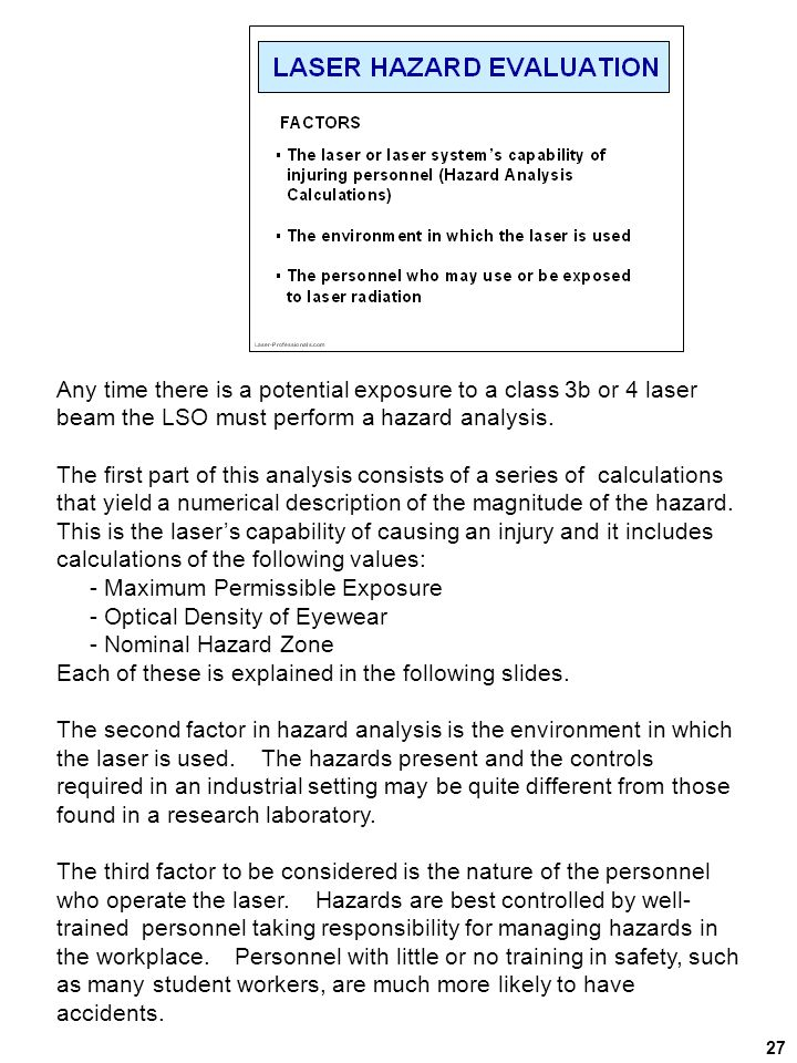 - Maximum Permissible Exposure - Optical Density of Eyewear