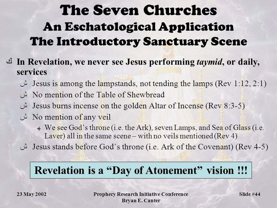The Seven Churches An Eschatological Application The Introductory Sanctuary Scene