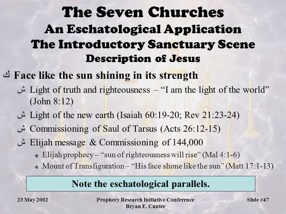 The Seven Churches An Eschatological Application The Introductory Sanctuary Scene Description of Jesus