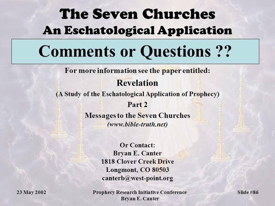 The Seven Churches An Eschatological Application