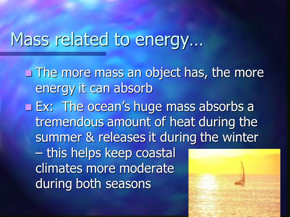 Mass related to energy…