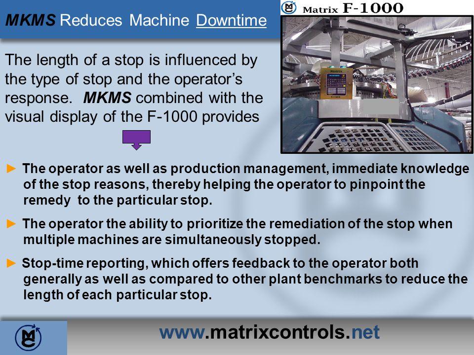 www.matrixcontrols.net MKMS Reduces Machine Downtime