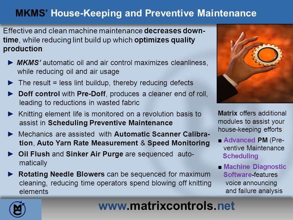 MKMS' House-Keeping and Preventive Maintenance