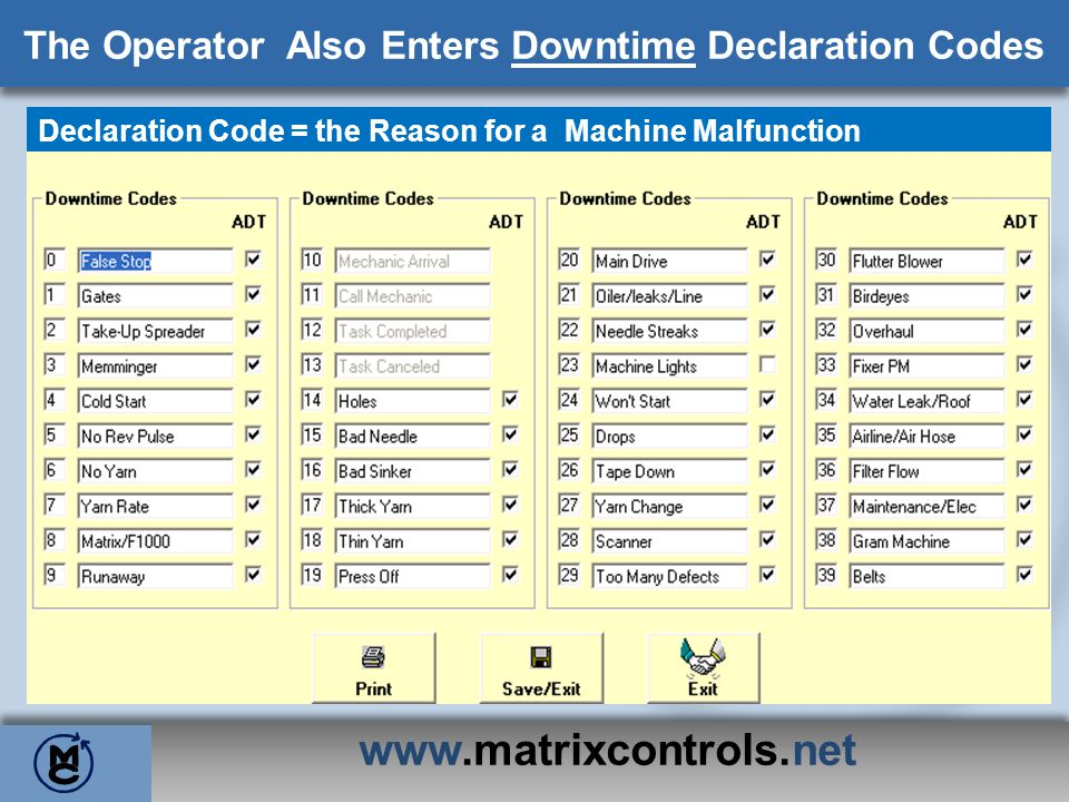 The Operator Also Enters Downtime Declaration Codes