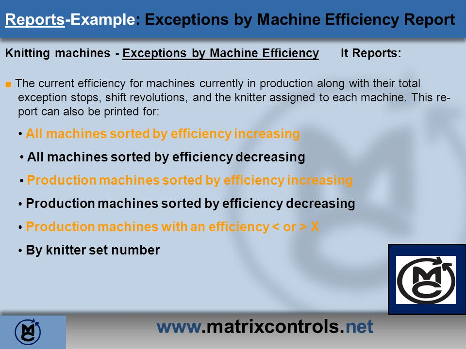 Reports-Example: Exceptions by Machine Efficiency Report