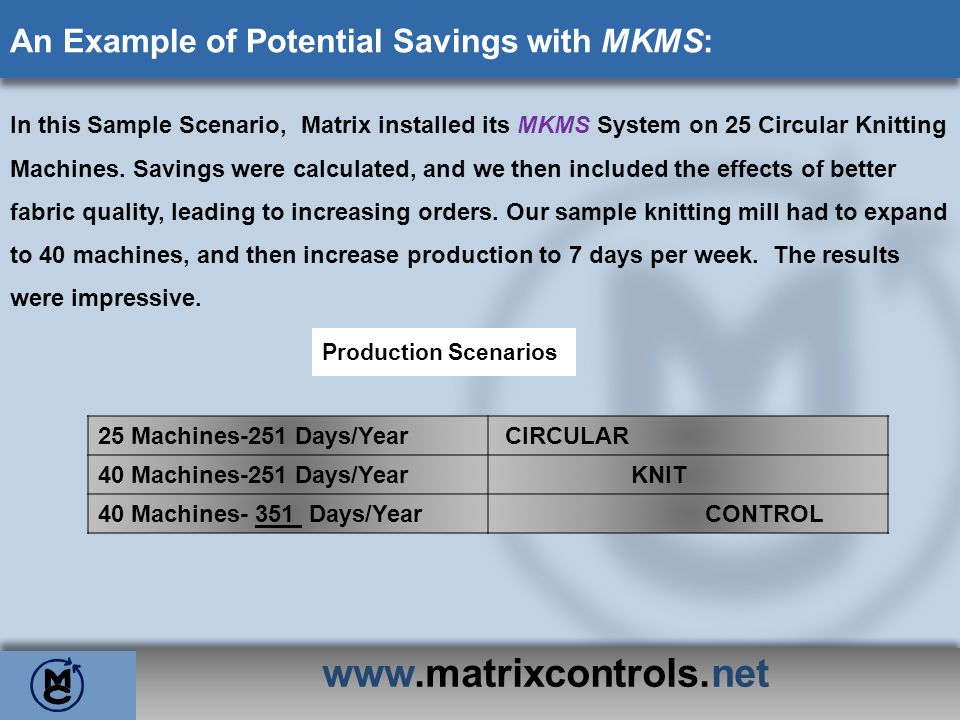 www.matrixcontrols.net An Example of Potential Savings with MKMS: