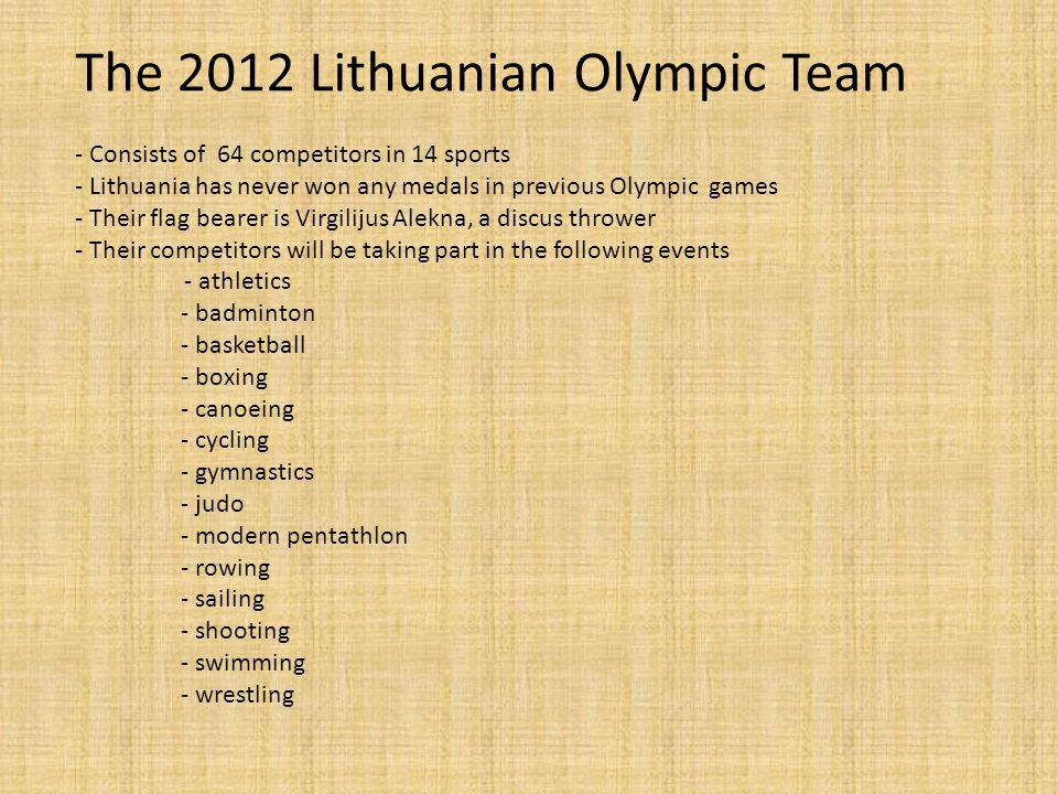 The 2012 Lithuanian Olympic Team