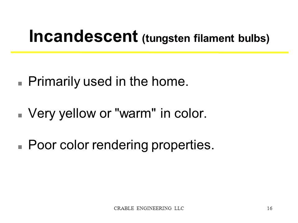 Incandescent (tungsten filament bulbs)