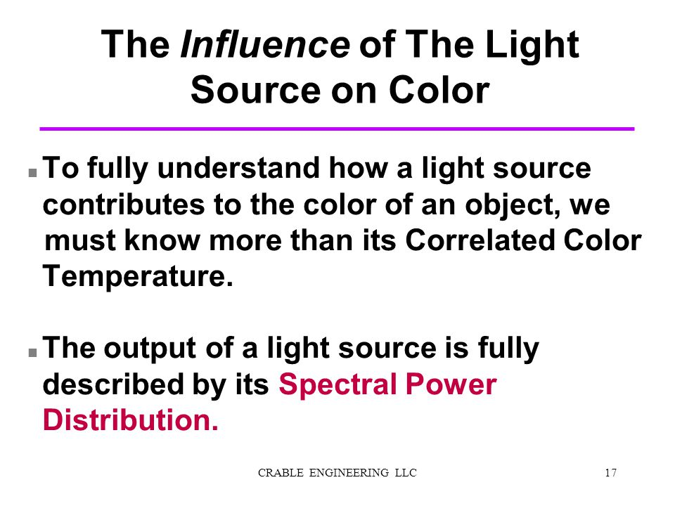 The Influence of The Light Source on Color