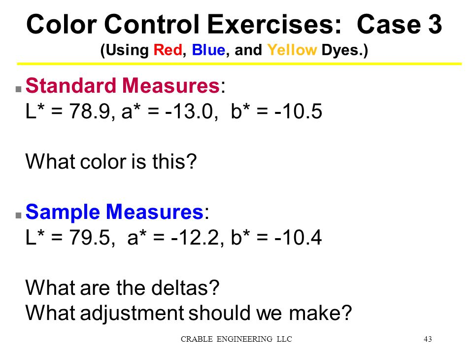 Color Control Exercises: Case 3 (Using Red, Blue, and Yellow Dyes.)
