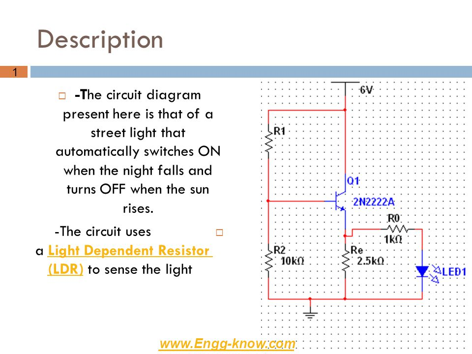 -The circuit uses a Light Dependent Resistor (LDR) to sense the light