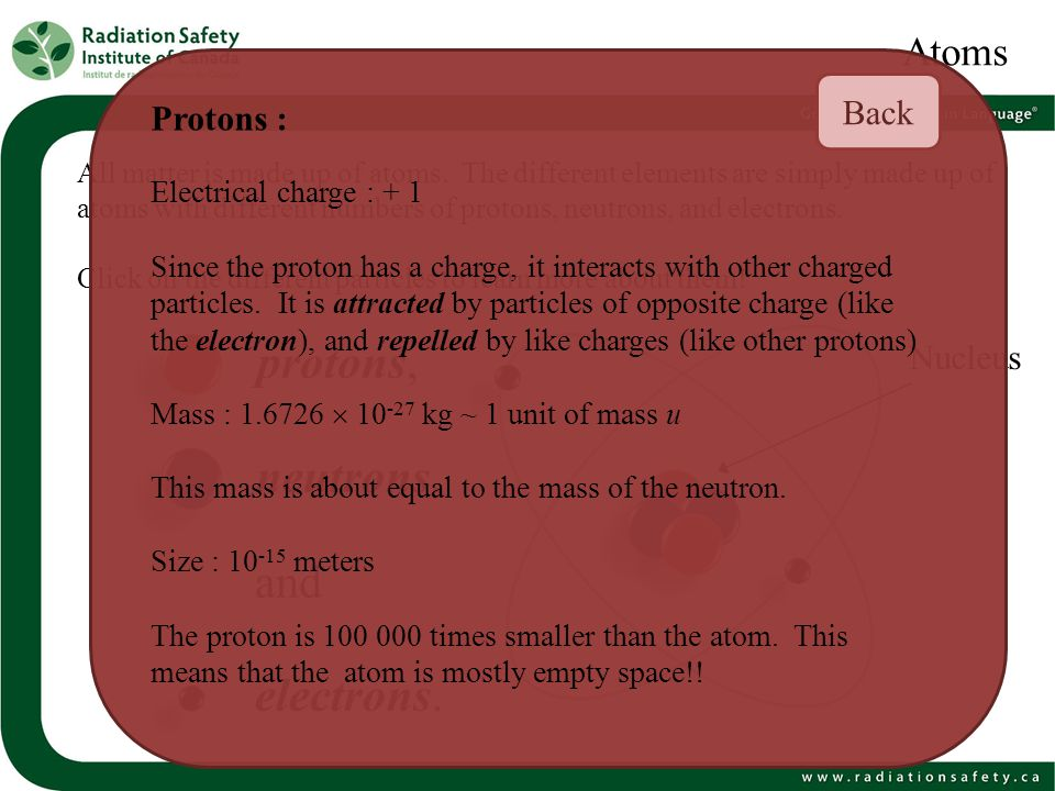 protons, neutrons, and electrons. Atoms Back Protons : Nucleus