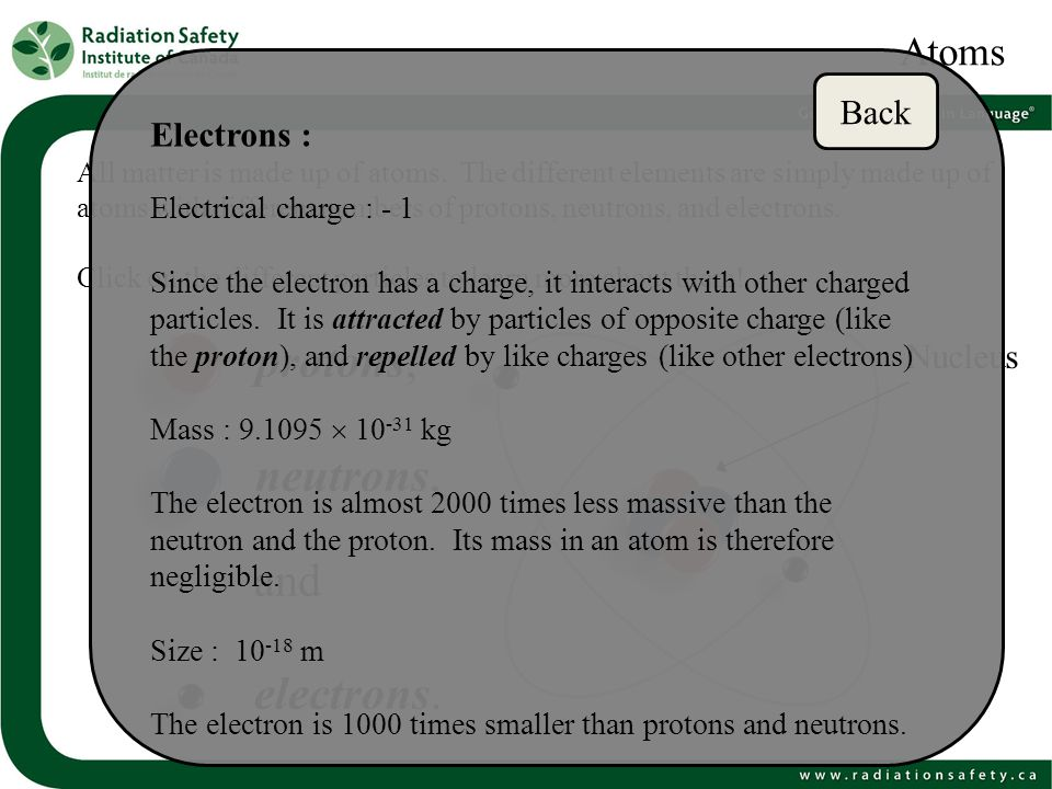 protons, neutrons, and electrons. Atoms Back Electrons : Nucleus