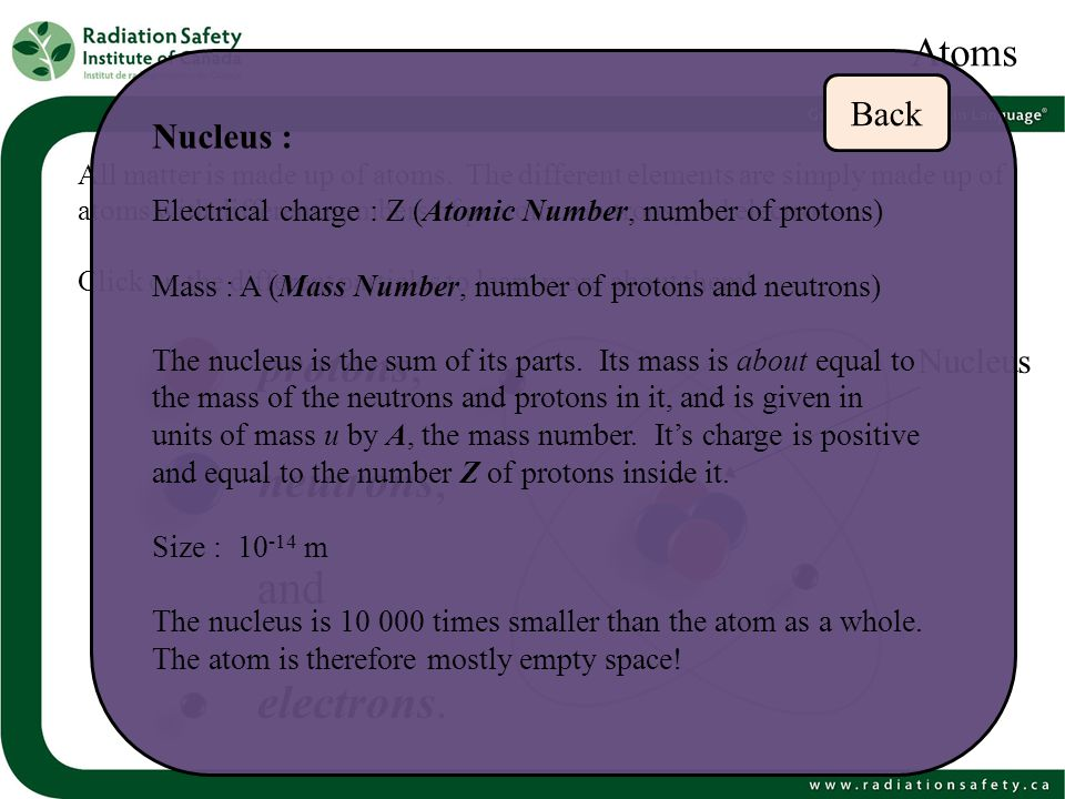 protons, neutrons, and electrons. Atoms Back Nucleus : Nucleus