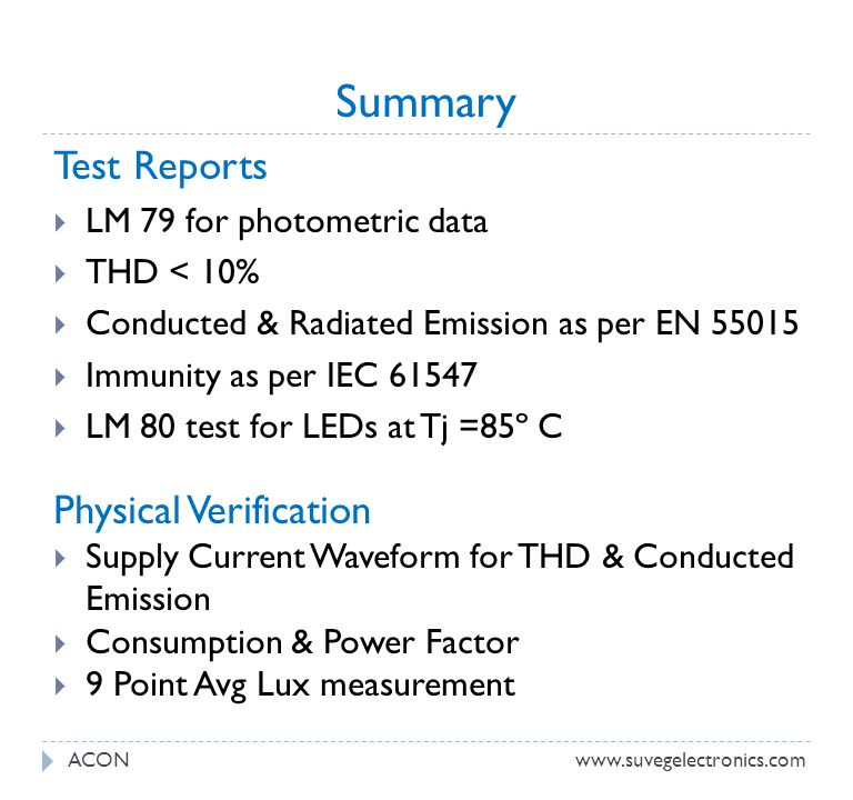 Summary Test Reports Physical Verification LM 79 for photometric data